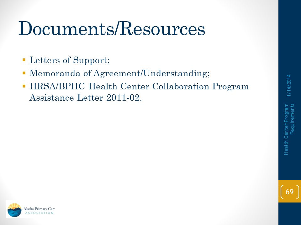 Documents/Resources Letters of Support;