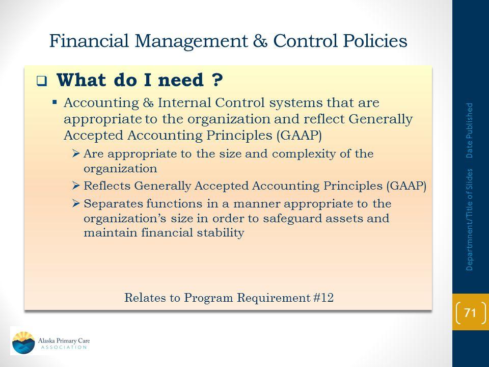 Financial Management & Control Policies