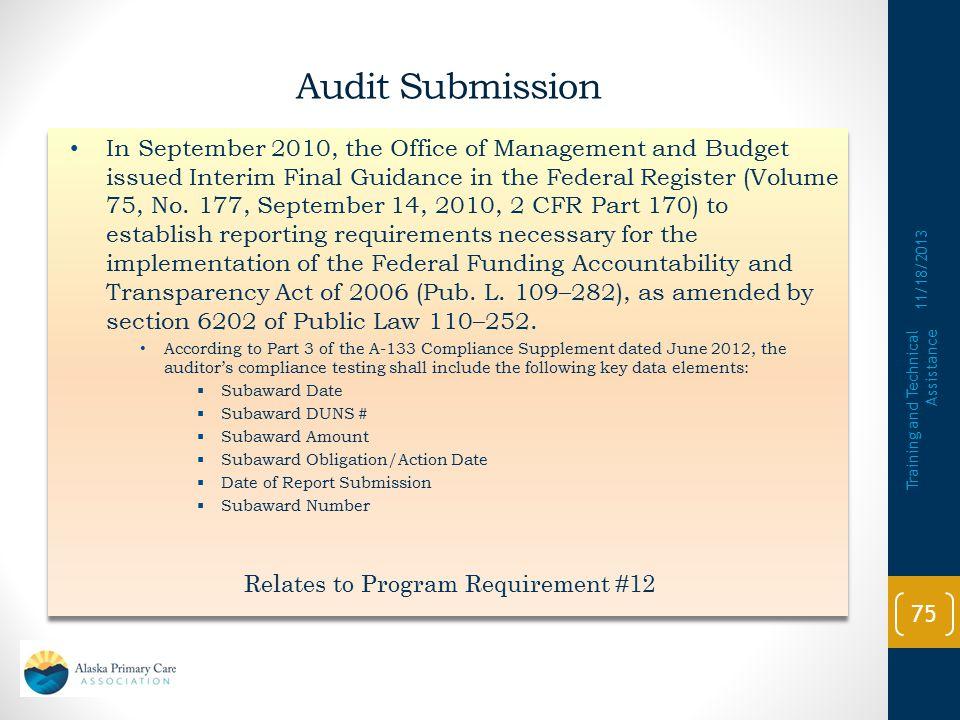 Relates to Program Requirement #12