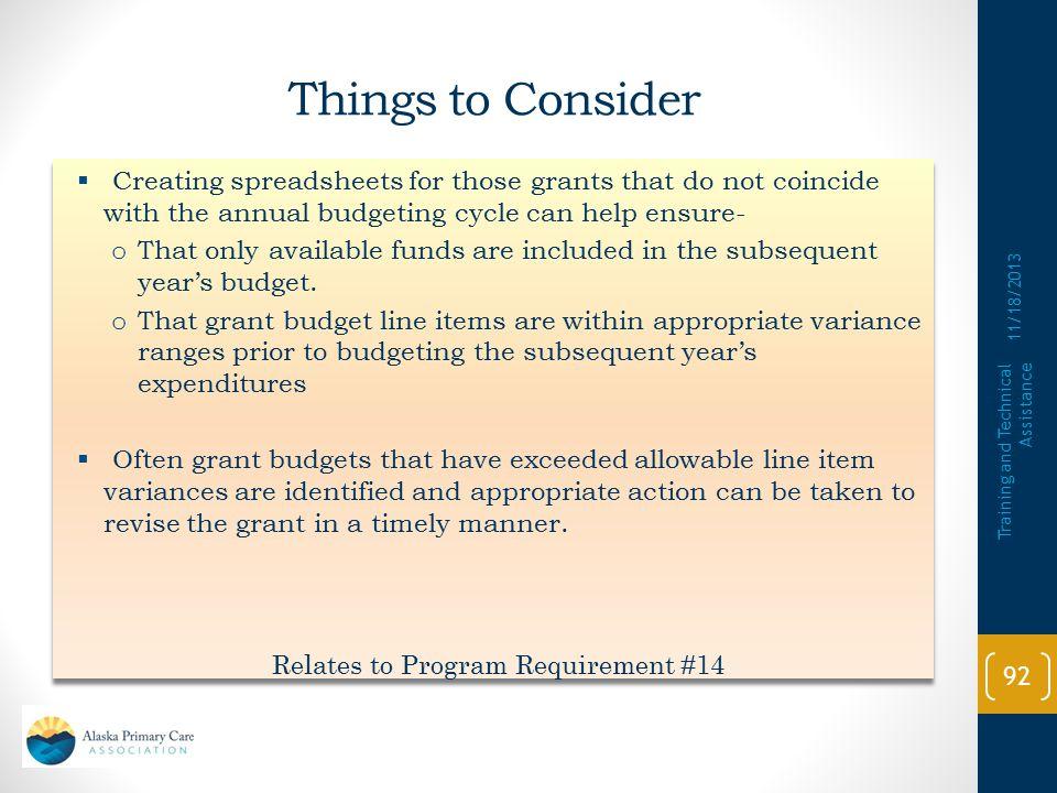 Relates to Program Requirement #14
