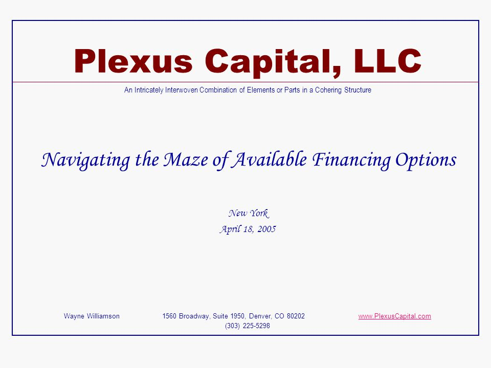 Navigating the Maze of Available Financing Options
