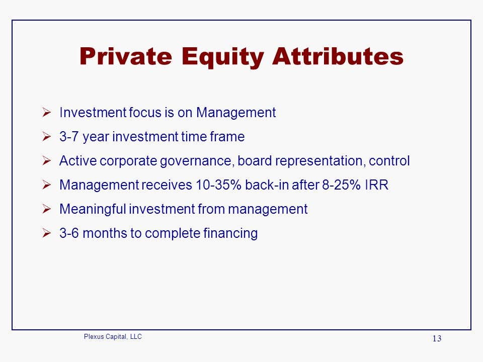 Private Equity Attributes