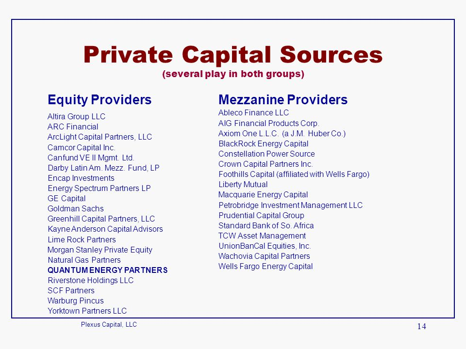 Private Capital Sources (several play in both groups)