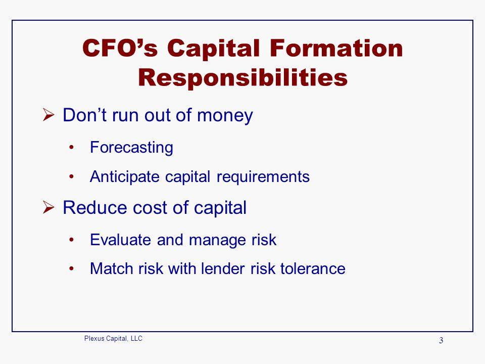 CFO's Capital Formation Responsibilities