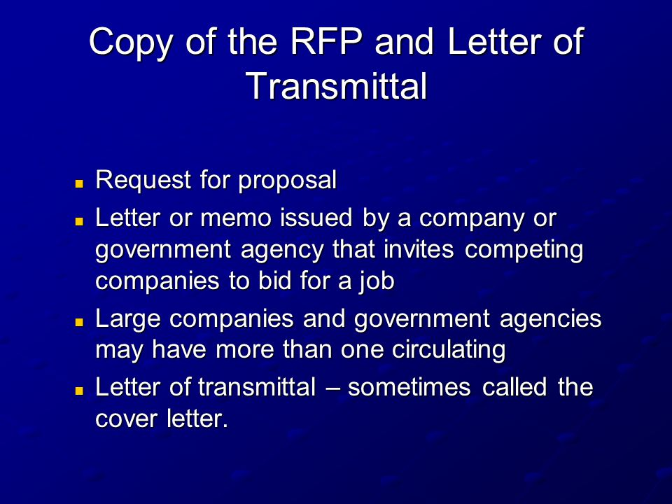 Copy of the RFP and Letter of Transmittal
