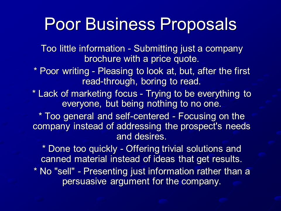 Poor Business Proposals