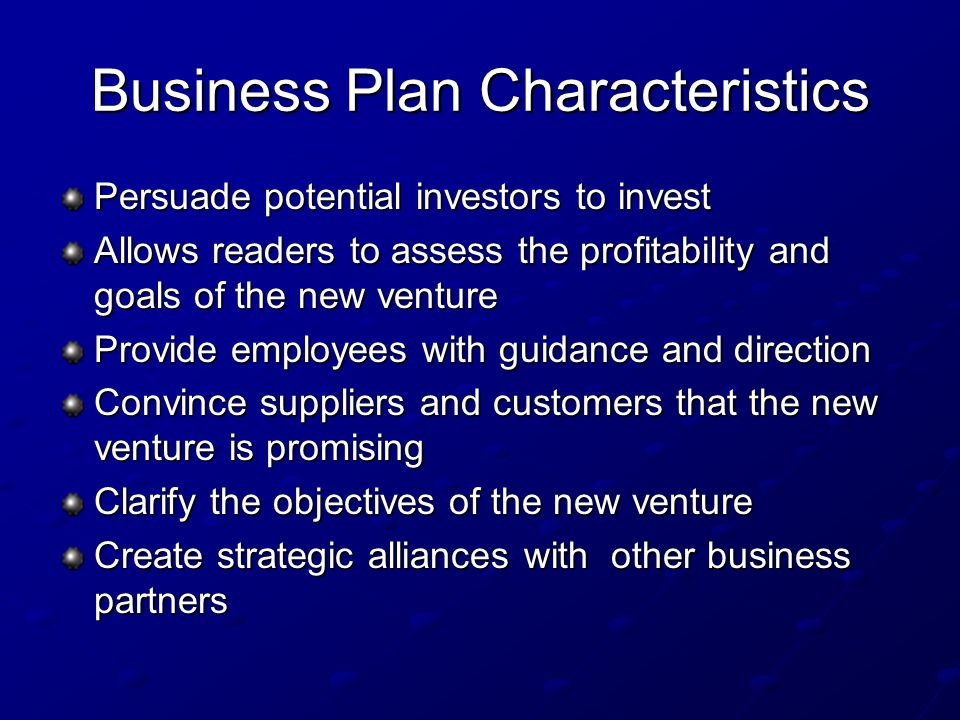 Business Plan Characteristics