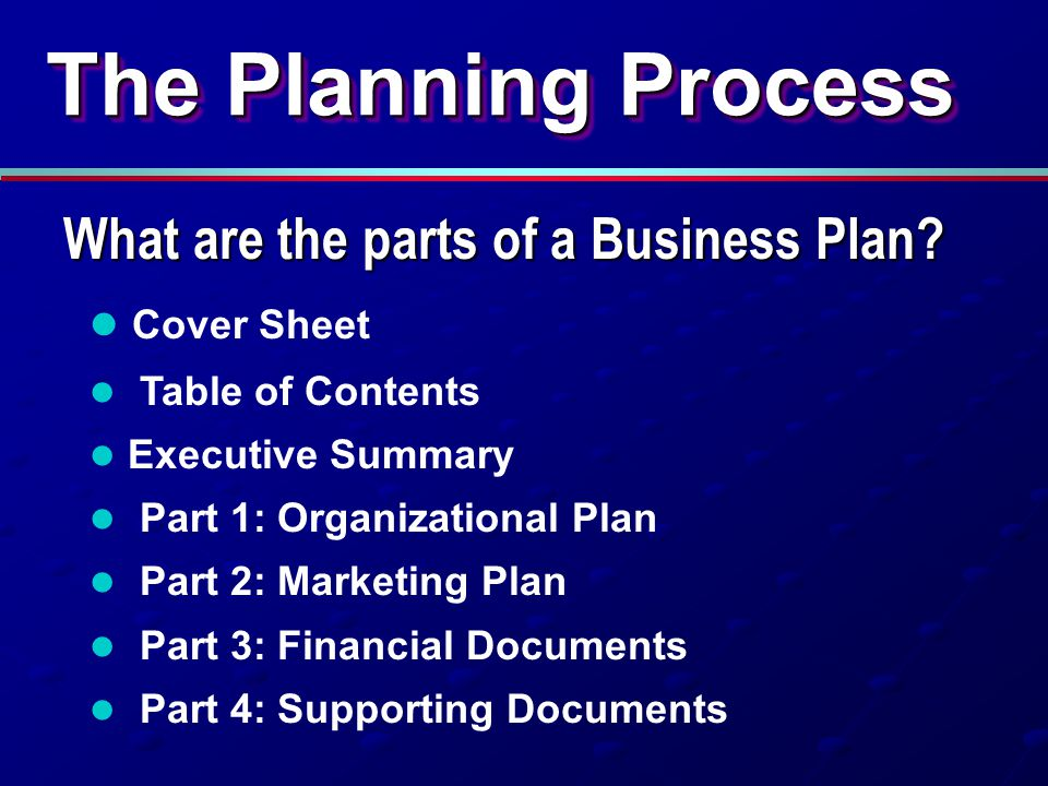 The Planning Process What are the parts of a Business Plan