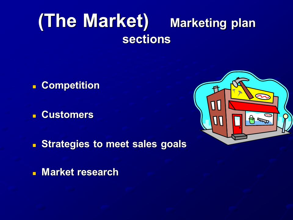 (The Market) Marketing plan sections