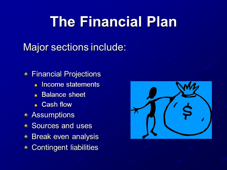 The Financial Plan Major sections include: Financial Projections
