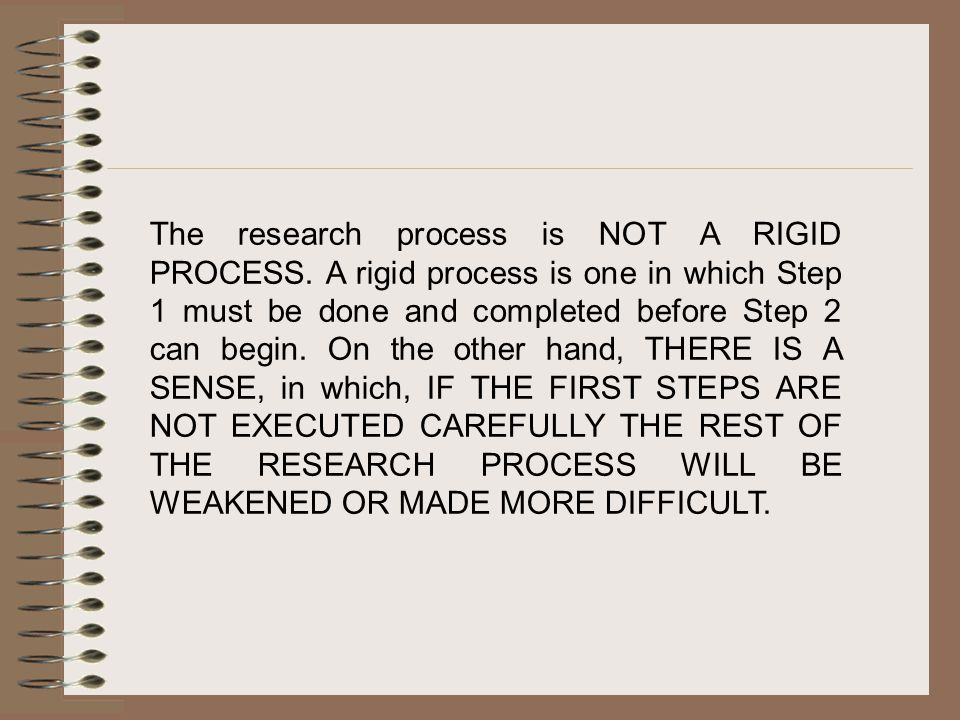 The research process is NOT A RIGID PROCESS