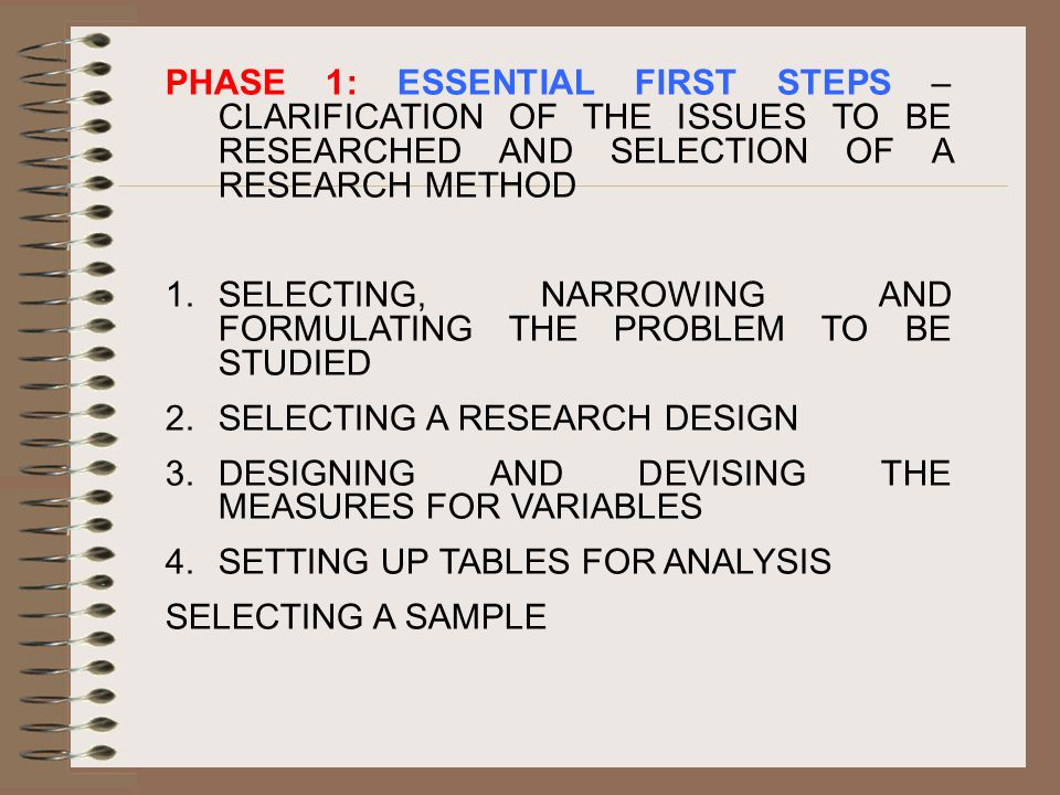 PHASE 1: ESSENTIAL FIRST STEPS – CLARIFICATION OF THE ISSUES TO BE RESEARCHED AND SELECTION OF A RESEARCH METHOD