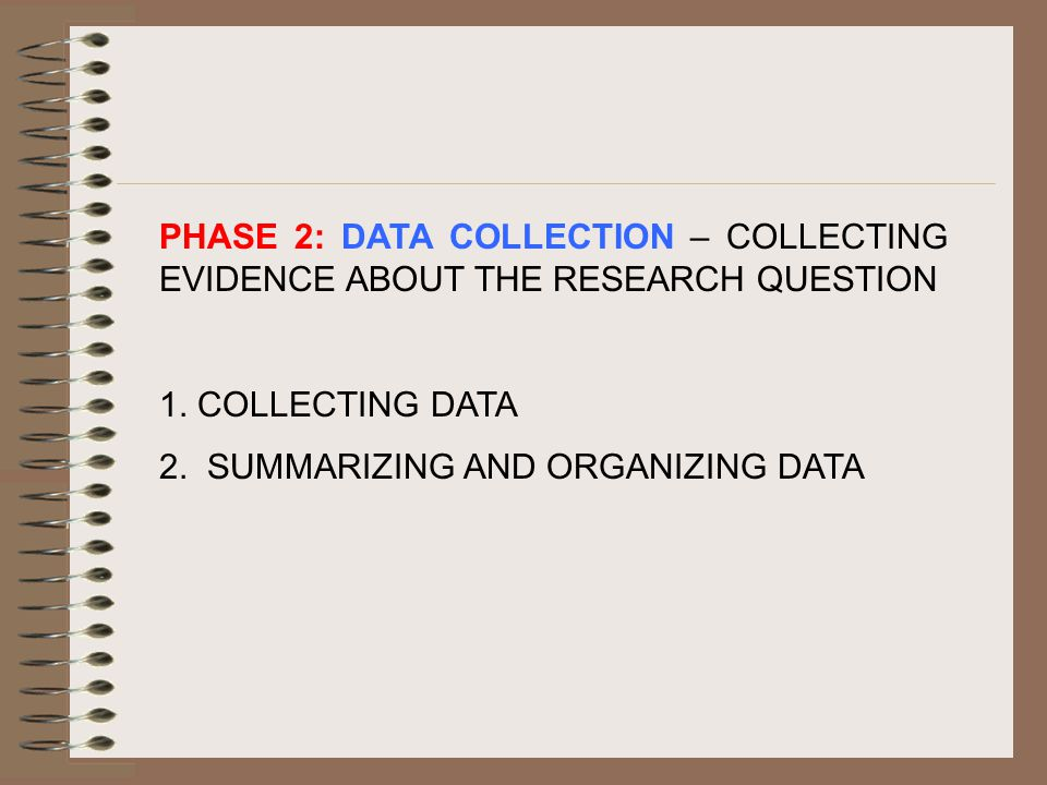 PHASE 2: DATA COLLECTION – COLLECTING EVIDENCE ABOUT THE RESEARCH QUESTION