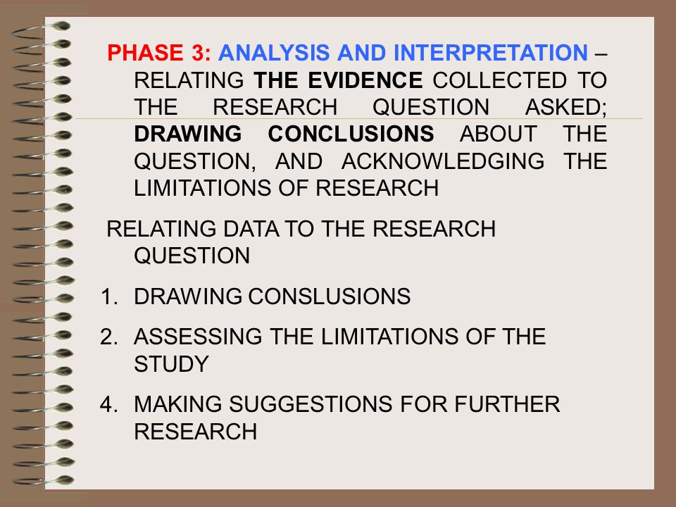 PHASE 3: ANALYSIS AND INTERPRETATION – RELATING THE EVIDENCE COLLECTED TO THE RESEARCH QUESTION ASKED; DRAWING CONCLUSIONS ABOUT THE QUESTION, AND ACKNOWLEDGING THE LIMITATIONS OF RESEARCH