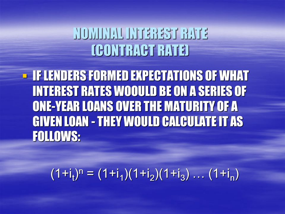 NOMINAL INTEREST RATE (CONTRACT RATE)