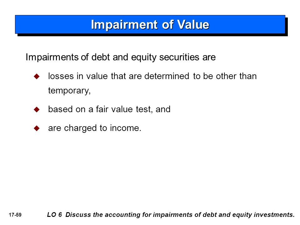 Impairment of Value Impairments of debt and equity securities are