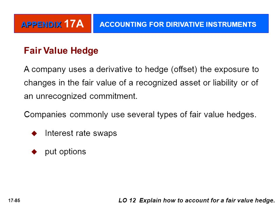 APPENDIX 17A ACCOUNTING FOR DIRIVATIVE INSTRUMENTS. Fair Value Hedge.