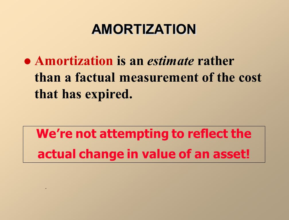 AMORTIZATION Amortization is an estimate rather than a factual measurement of the cost that has expired.
