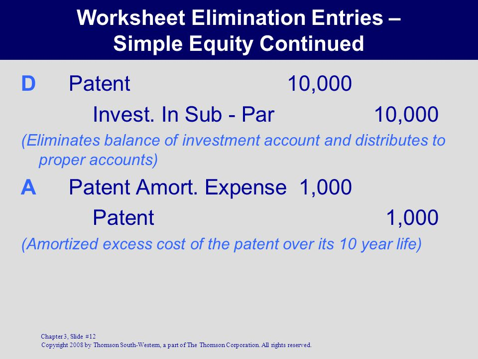 Worksheet Elimination Entries – Simple Equity Continued