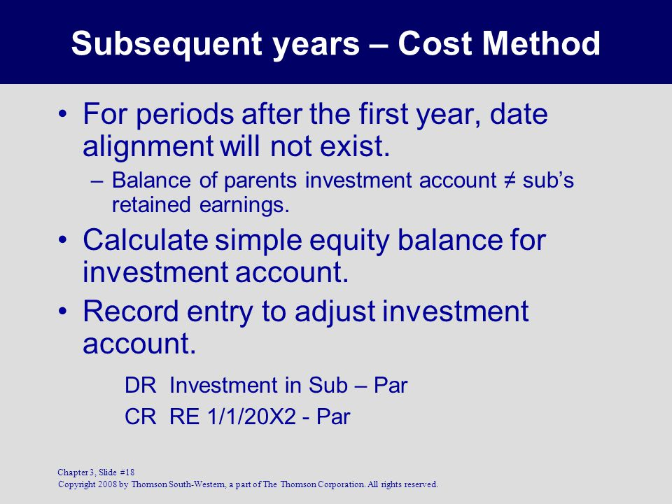Subsequent years – Cost Method