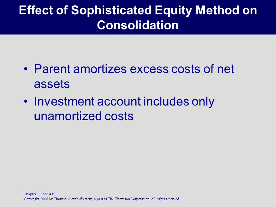 Effect of Sophisticated Equity Method on Consolidation