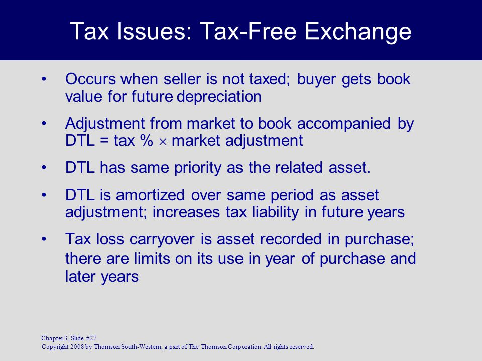 Tax Issues: Tax-Free Exchange