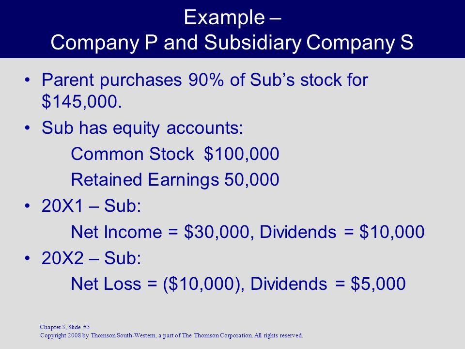 Example – Company P and Subsidiary Company S