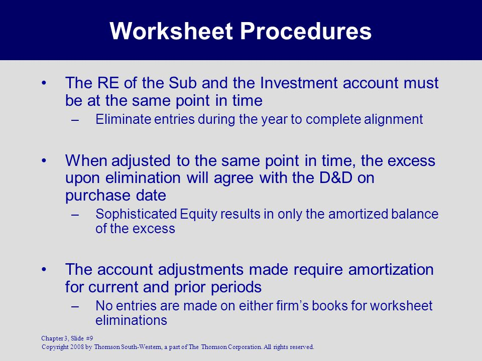 Worksheet Procedures The RE of the Sub and the Investment account must be at the same point in time.