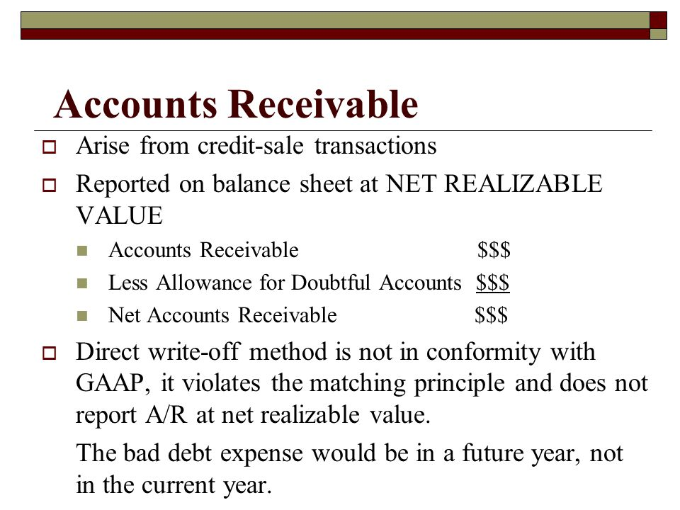 Accounts Receivable Arise from credit-sale transactions