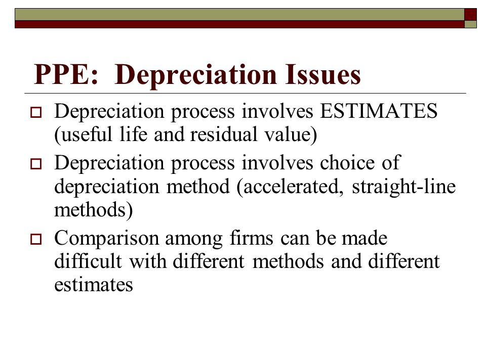 PPE: Depreciation Issues