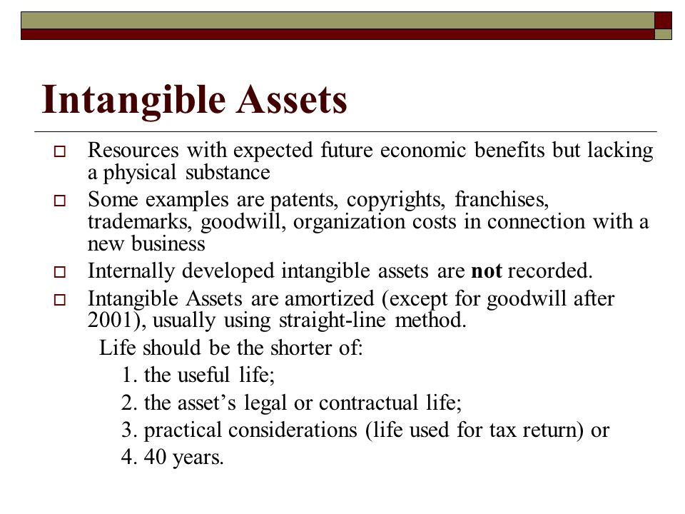 Intangible Assets Resources with expected future economic benefits but lacking a physical substance.