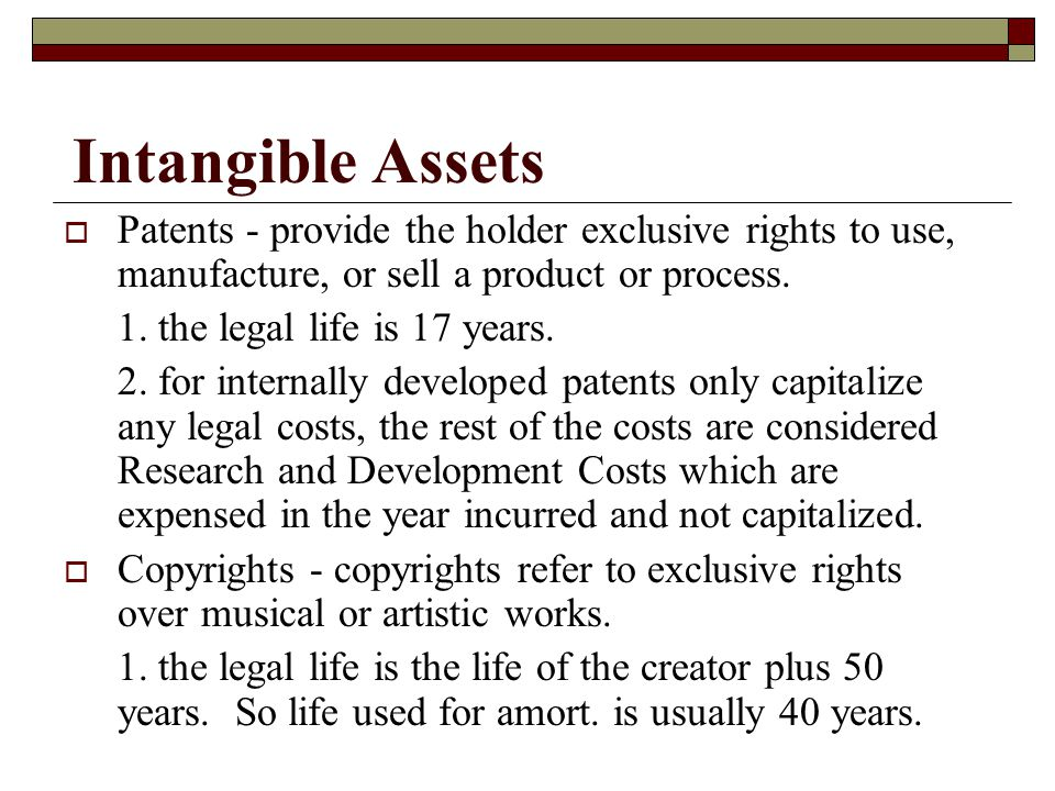 Intangible Assets Patents - provide the holder exclusive rights to use, manufacture, or sell a product or process.