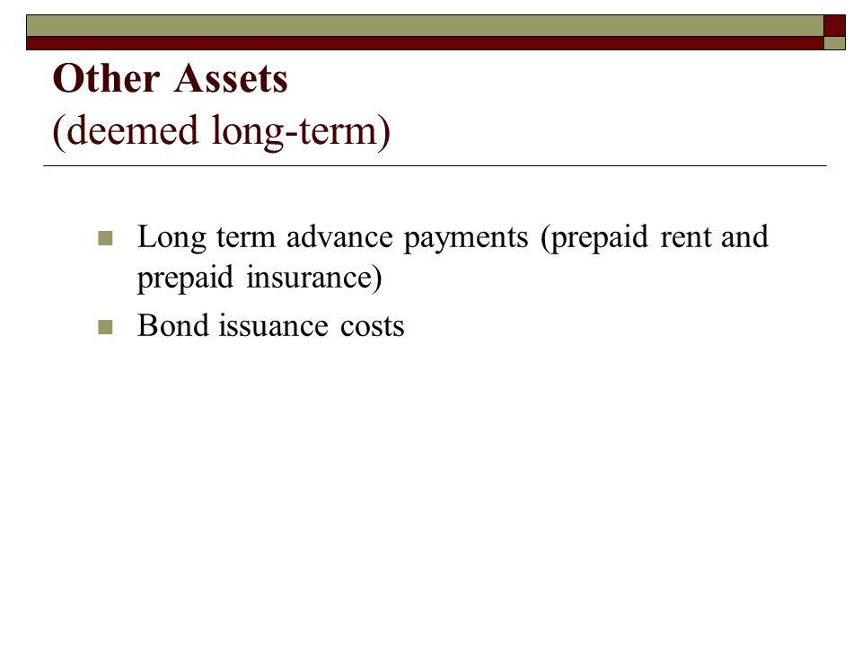 Other Assets (deemed long-term)
