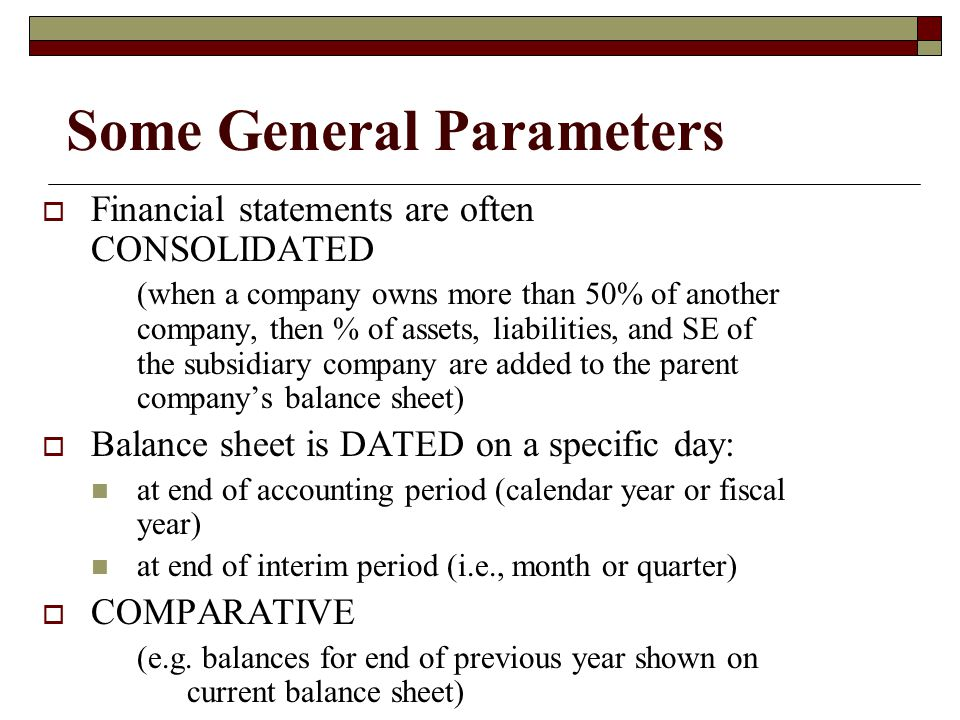 Some General Parameters