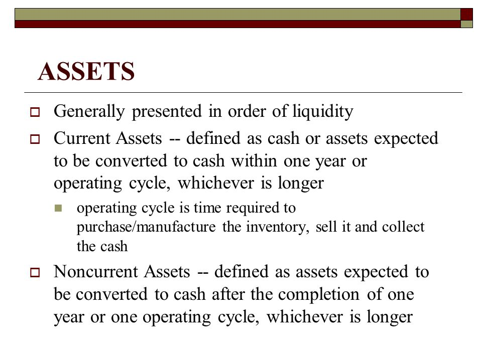 ASSETS Generally presented in order of liquidity