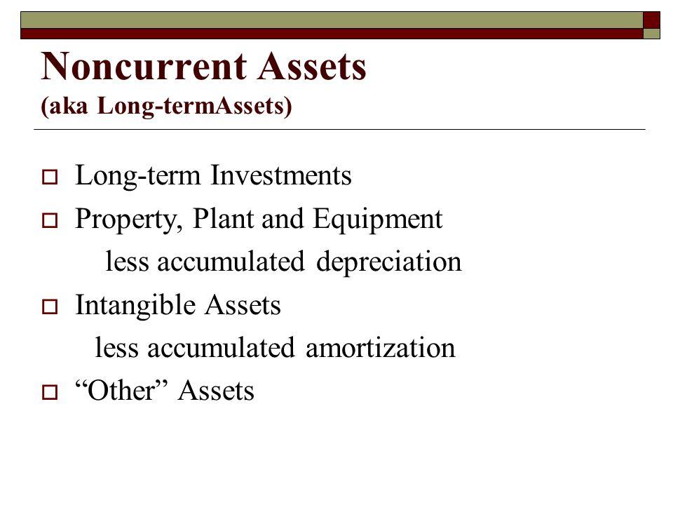 Noncurrent Assets (aka Long-termAssets)