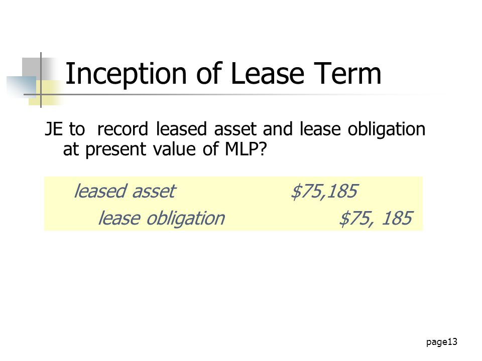 Lease inception
