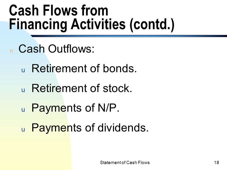 Cash Flows from Financing Activities (contd.)