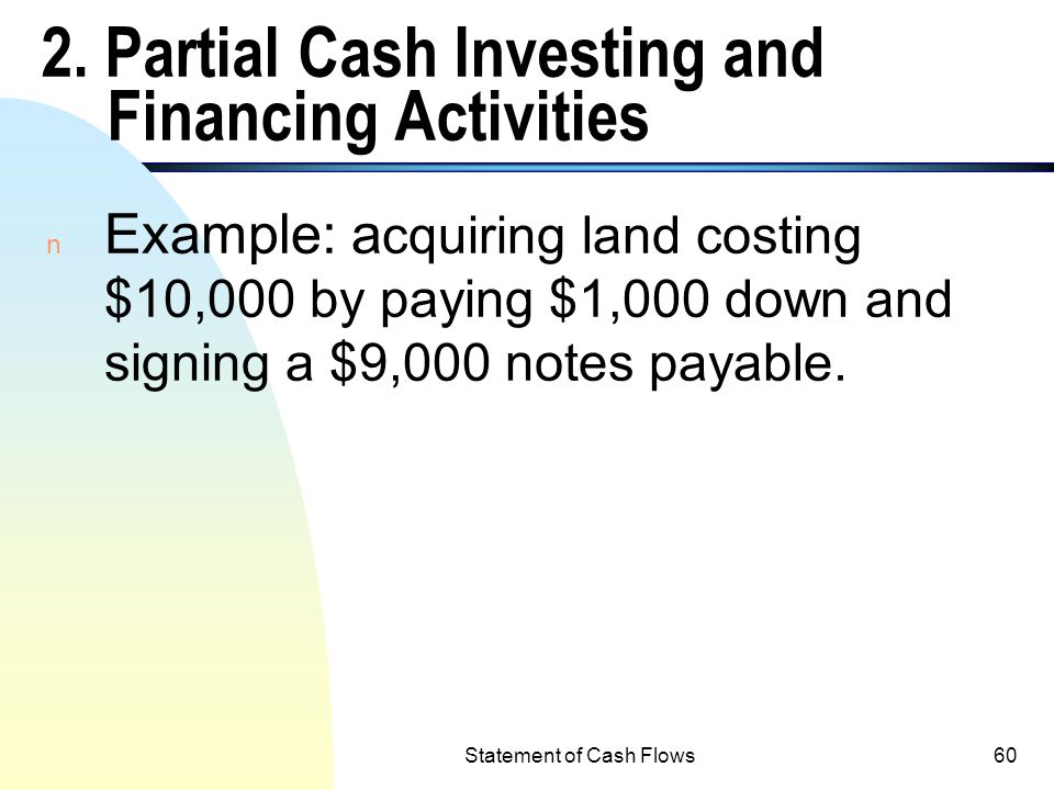 2. Partial Cash Investing and Financing Activities