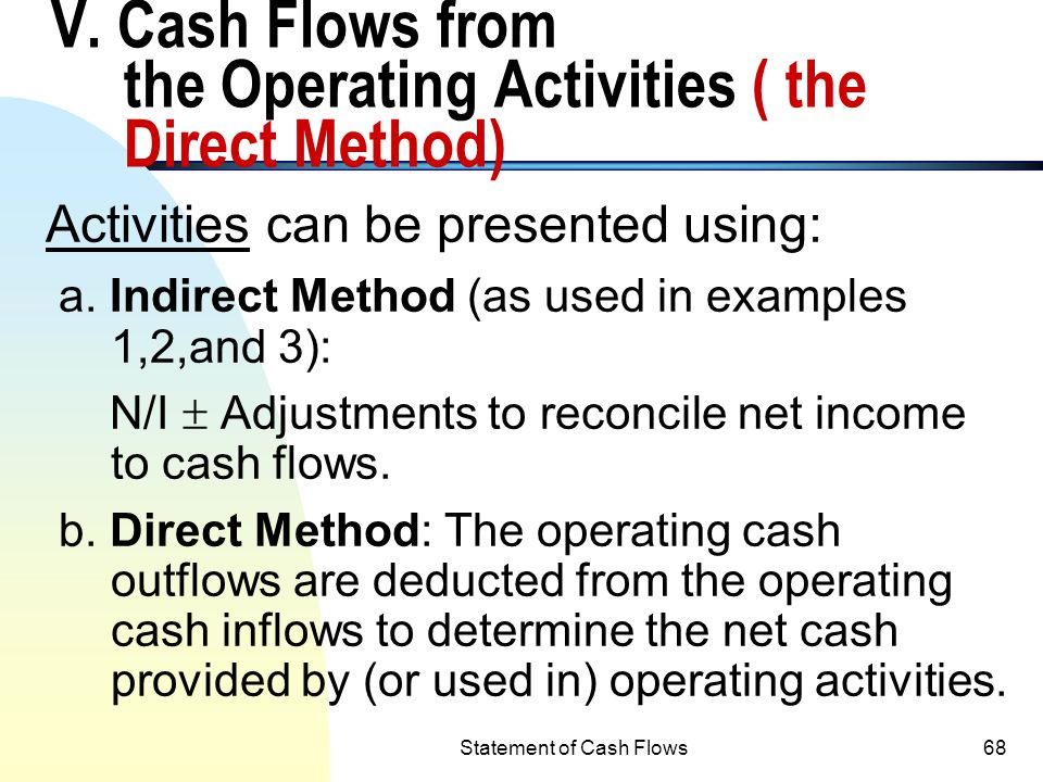 V. Cash Flows from the Operating Activities ( the Direct Method)