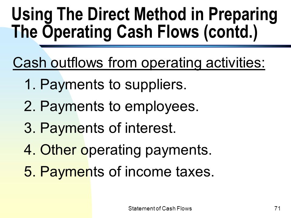 Using The Direct Method in Preparing The Operating Cash Flows (contd.)