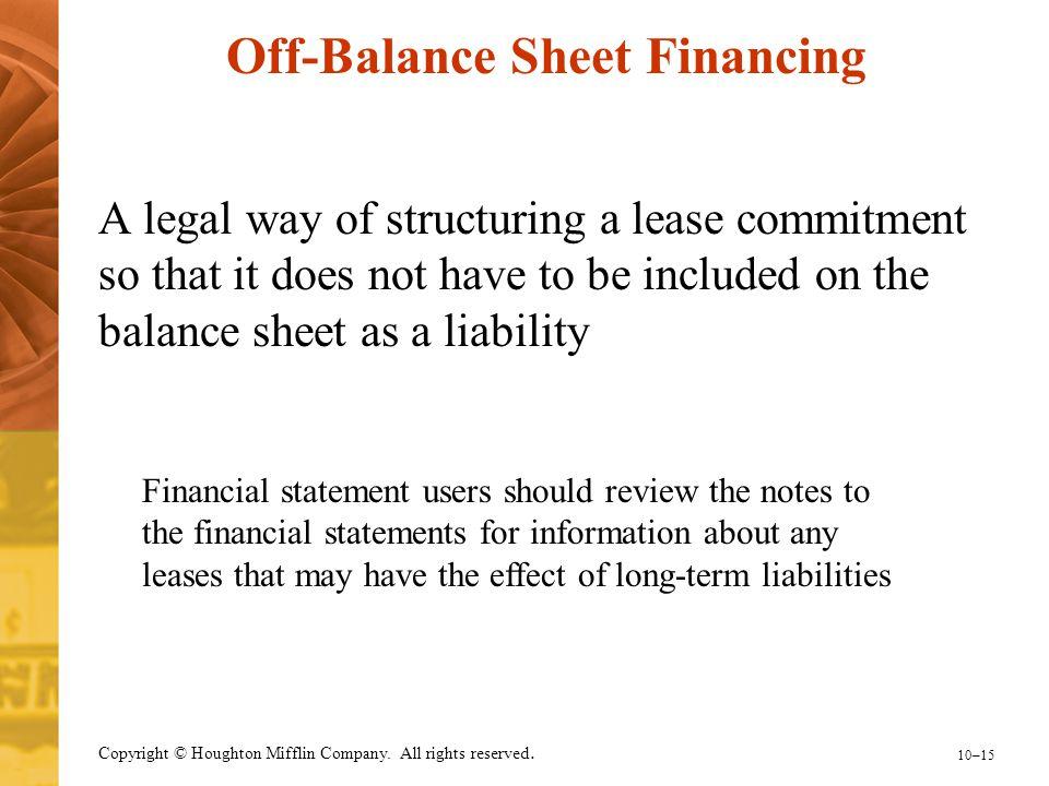 Off-Balance Sheet Financing