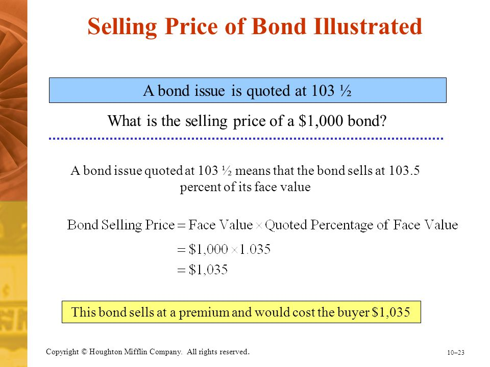 Selling Price of Bond Illustrated