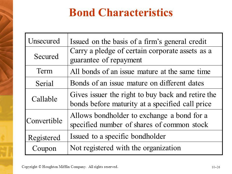 Bond Characteristics Unsecured