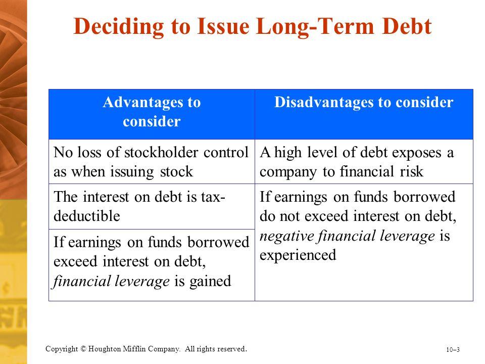 Deciding to Issue Long-Term Debt