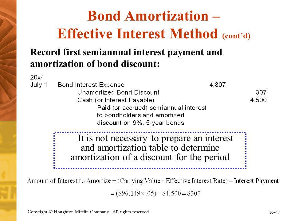 Bond Amortization – Effective Interest Method (cont'd)