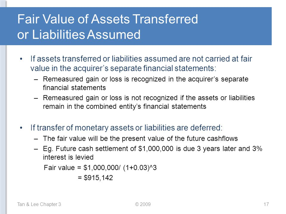 Fair Value of Assets Transferred or Liabilities Assumed