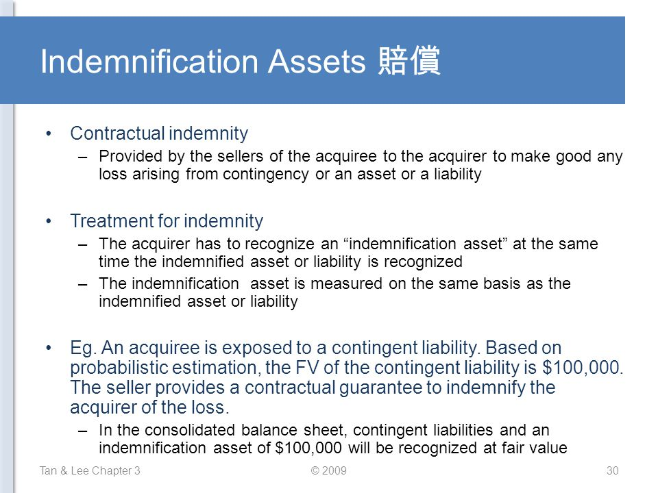 Indemnification Assets 賠償