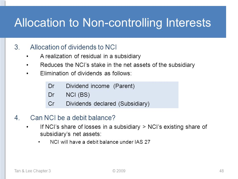 Allocation to Non-controlling Interests
