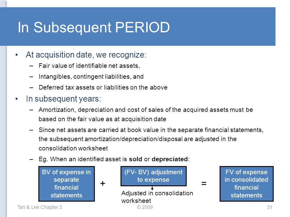 In Subsequent PERIOD + = At acquisition date, we recognize: